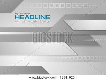 Abstract grey tech geometric business design background