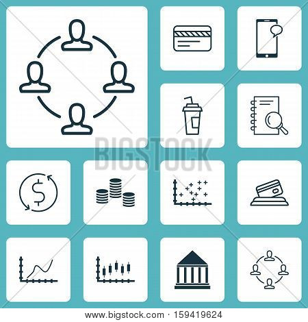 Set Of 12 Universal Editable Icons. Can Be Used For Web, Mobile And App Design. Includes Icons Such As Education Center, Stock Market, Analysis And More.