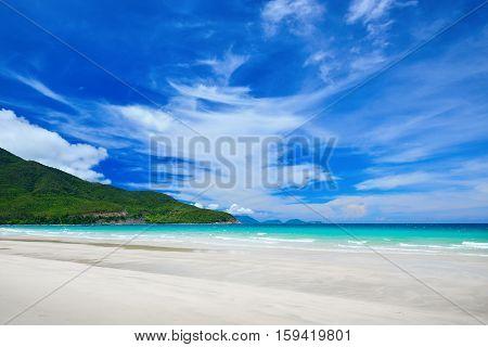 White sand of tropical beach caribbean sea.