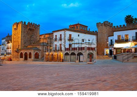 Caceres Plaza Mayor square at sunset in Extremadura of Spain