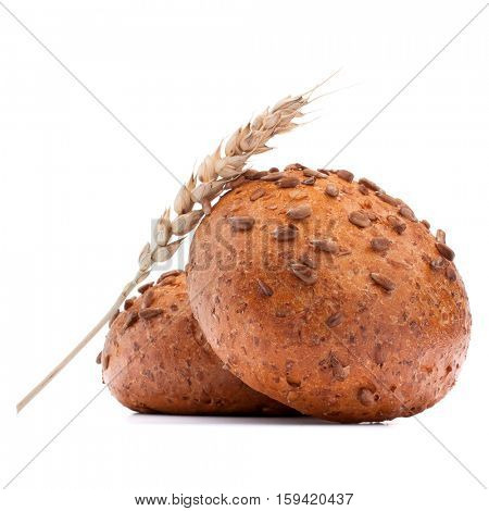 hamburger bun or roll  and wheat ear isolated on white background cutout