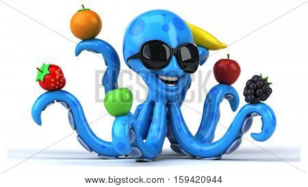 Fun octopus - 3D Illustration
