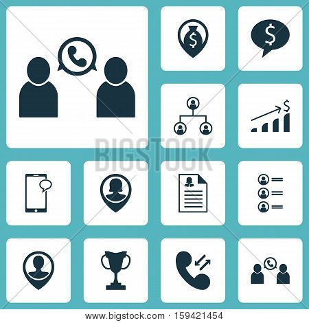 Set Of Human Resources Icons On Business Deal, Cellular Data And Phone Conference Topics. Editable Vector Illustration. Includes Cup, Chat, Opinion And More Vector Icons.