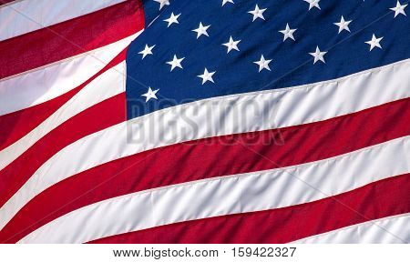 United States flag close up texture background horizontal view