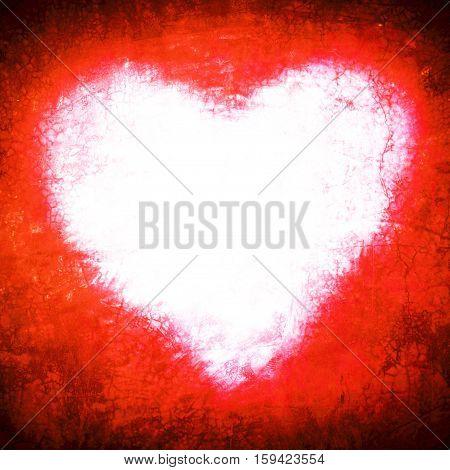 Grunge Frame , Heart Shape Red Color, Valentines Day