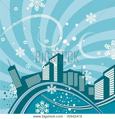 Urban winter background with a cityscape and snowflakes, vector illustration series.