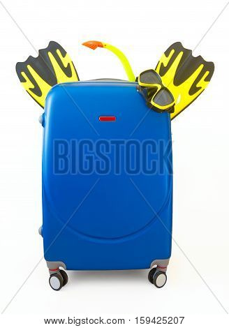 Baggage diving ready for travel. Blue luggage mask and flippers isolated on white.