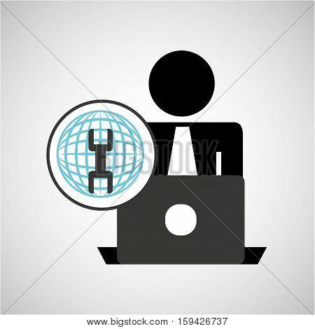 silhouette programmer working laptop global support vector illustration eps 10