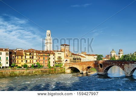 View Of The Ponte Pietra And Bell Tower Of The Verona Cathedral