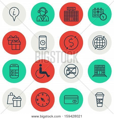 Set Of Airport Icons On Present, Plastic Card And Shopping Topics. Editable Vector Illustration. Includes Card, Locate, Debit And More Vector Icons.