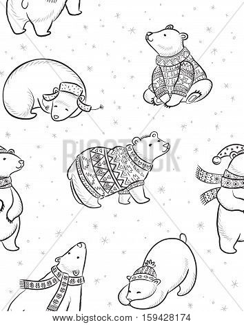 Black and white Christmas seamless pattern with polar bears in sweater, scarf and hat. Cartoon style. Coloring book page. Christmas vector seamless pattern with polar bears in red sweater, scarf and hat.