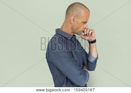 Man Concentrated Emotion Stress Problem Concept
