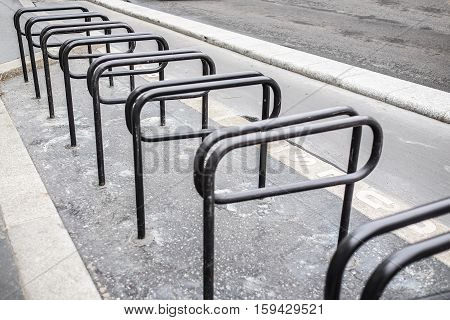 bicycle parking rack in  black and white