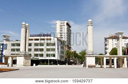 Varna, Bulgaria - April 18, 2016: Slivnitsa boulevard, pedestrian street in the tourist and historical center of the city.