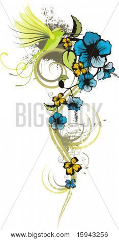 Floral design with a bunch of flowers and a humming bird, vector illustration series.