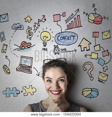 Girl getting creative ideas
