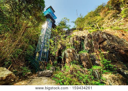 Glass Tower Among Green Woods. Outdoor Elevator In Forest