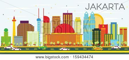 Jakarta Skyline with Color Buildings and Blue Sky. Business Travel and Tourism Concept with Modern Buildings. Image for Presentation and Banner.