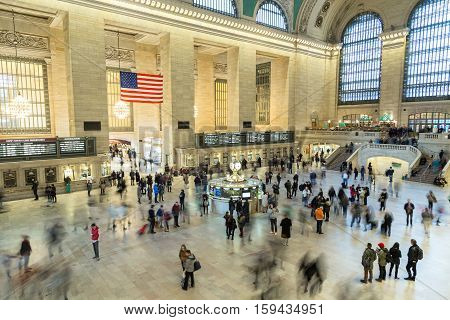 New York, United States of America - November 20, 2016: Inside view of the main hall of Grand Central Terminal Station in Manhattan