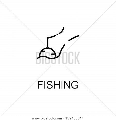 Fishing flat icon. Single high quality outline symbol of summer for web design or mobile app. Thin line signs of fishing for design logo, visit card, etc. Outline pictogram of fishing