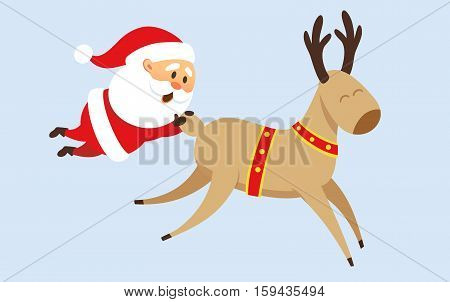 Santa Claus Christmas illustration. Santa Claus rides a reindeer, fell from reindeer and holding on to his tail. Christmas character design. Santa Clause travel. Funny Father Frost