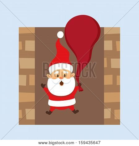 Santa Claus Christmas illustration. Santa Claus hold bag and falls down the chimney . Christmas character design. Father Frost