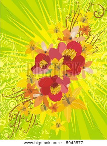 floral Background with Lightrays und Grunge Details, Vector Illustration Serie.