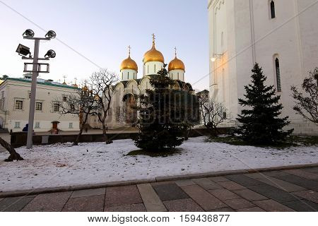 Assumption Cathedral (was The Site Of Coronation Of Russian Tsars) At Night. Cathedral Square, Insid