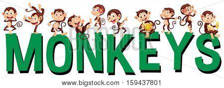 Font design with word monkeys illustration
