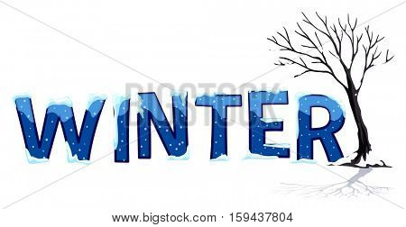 Font design with word winter illustration