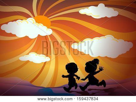 Silhouette children running at sunset illustration