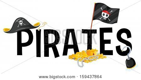 Font design with word pirates illustration