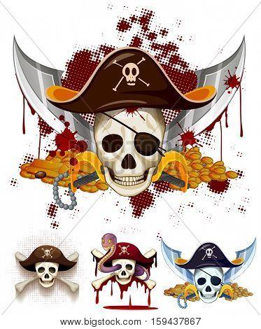 Pirate theme logo with skulls illustration