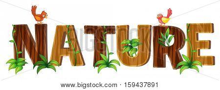 Font design with word nature illustration