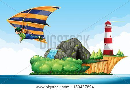 Man doing sky gliding over the ocean illustration