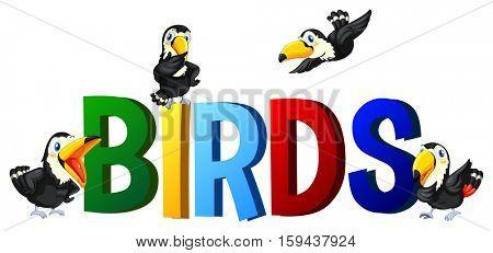 Font design with word birds illustration