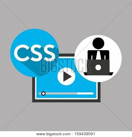 silhouette programmer working laptop css player vector illustration eps 10