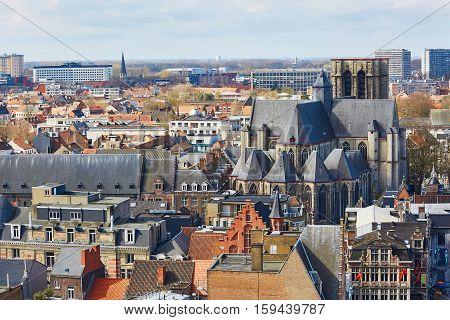 Aerial View Of Gravensteen Castle In Gent