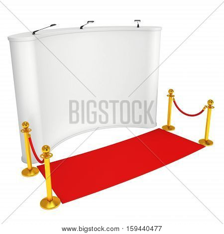 Trade show booth white and blank with gold rope barrier and red carpet. 3d render illustration isolated on white background.