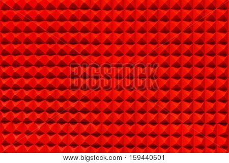 Red pyramid sound-absorbing panel of the recording and radio studio