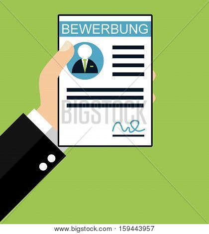 Hand holding Application in german language - Flat Design