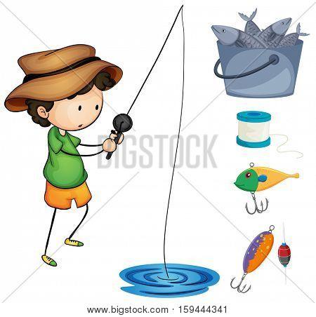 Boy fishing and fishing items illustration