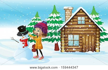 Little girl making snowman in the field illustration
