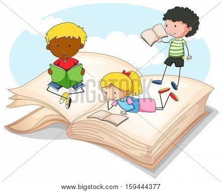Three kids reading storybook illustration