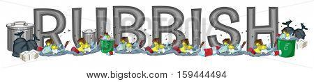 Font design for word rubbish illustration