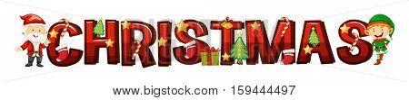 Font design for word christmas illustration