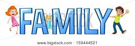 Font design for word family illustration