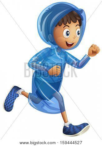 Little boy in blue raincoat illustration