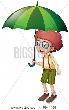 Little boy and green umbrella illustration