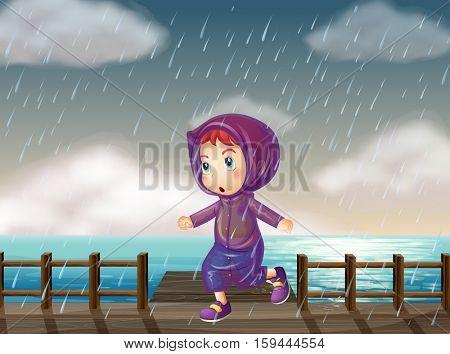 Girl running in rain at the pier illustration